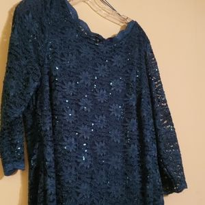 NWT R & M Richards GORGEOUS SPARKLING BLUE SZ 14W